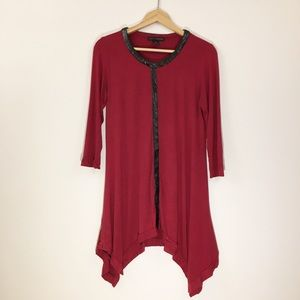 Grace Elements red tunic with leather detail Small